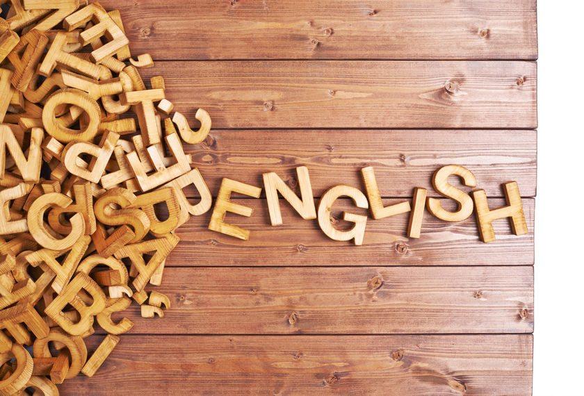 Word tiles spelling English